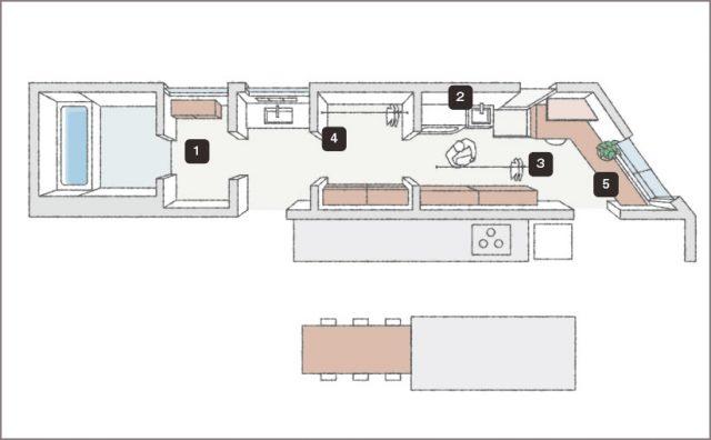 眺望を楽しむガレージハウス⑤「キッチン裏の家事室」