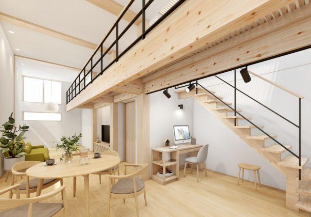 2階建て4層の家②「明るく開放的なLDK」